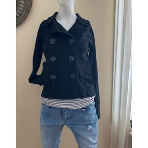 Sassy Maurices Black Cropped Pea Coat Jacket M